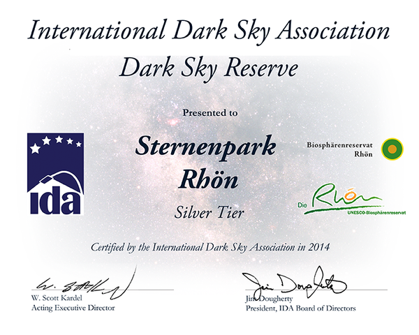 Zertifikat der International Dark Sky Association von 2014