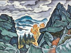 Heinz Kistler»Auf der Steinwand«1993Aquarell und Tusche auf Japan